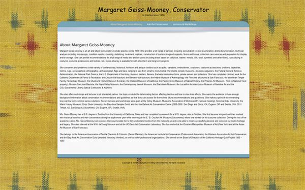 Margaret Geiss-Mooney, Conservator
